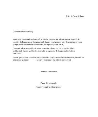 Carta para Trabajo